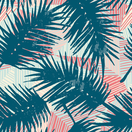 Seamless exotic pattern with tropical palm leaves on geometric background. Vector hand drawn texture. Иллюстрация