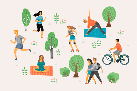 Vector illustration with active young people.