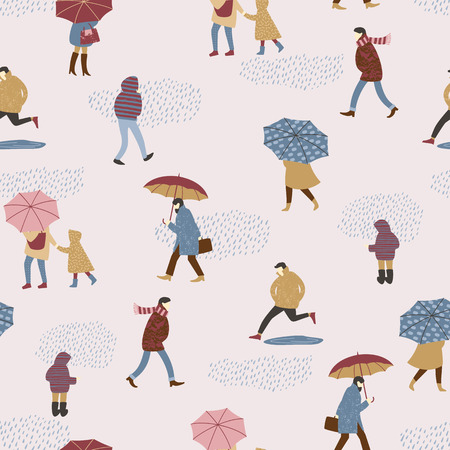 Vector illustration of people in the rain. Autumn mood. Seamless pattern. Illustration