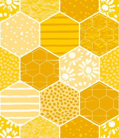 Seamless geometric pattern with honeycomb. Trendy hand drawn textures. Illustration