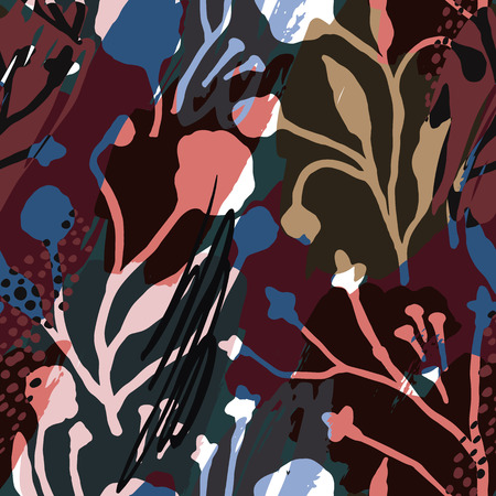 Abstract floral seamless pattern with trendy hand drawn textures. Banco de Imagens - 84181287