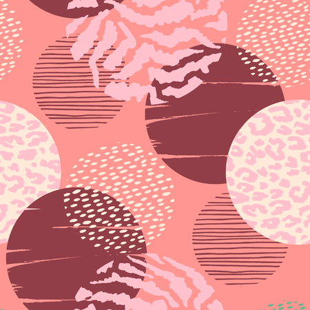 Abstract geometric seamless pattern with animal print and circles. Trendy hand drawn textures. Modern abstract design for paper, cover, fabric, interior decor and other users