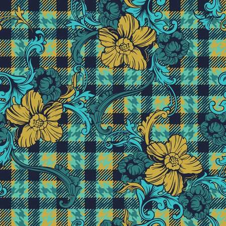 Eklektisches Gewebe-Plaid nahtloses Muster mit barockem Ornament. Vektorgrafik