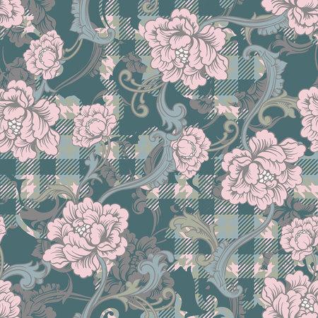 折衷的なファブリックにバロック式の装飾格子縞のシームレスなパターン。ベクトルの背景。