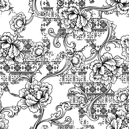Eclectic 패브릭 원활한 패턴입니다. 바로크 장식으로 민족적인 배경입니다.