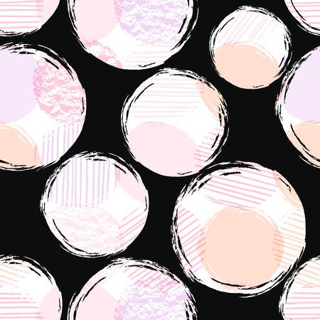 円を含む抽象的なジオメトリックシームレスパターン。