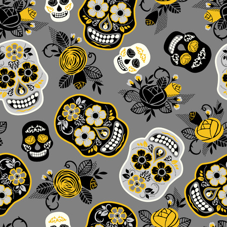 traditional culture: Dia de los muertos. Day of The Dead. Seamless pattern. Vector template. Illustration