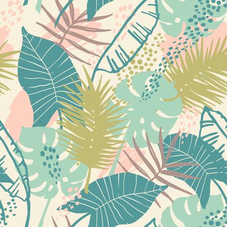 열 대 식물과 원활한 이국적인 패턴입니다. 스톡 콘텐츠 - 87062890
