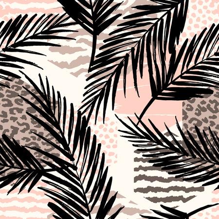 Abstract naadloos patroon met dierlijke druk, tropische planten en geometrische vormen. Stock Illustratie
