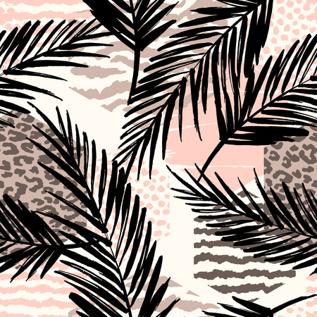 zebra skin: Abstract seamless pattern with animal print, tropical plants and geometric shapes.