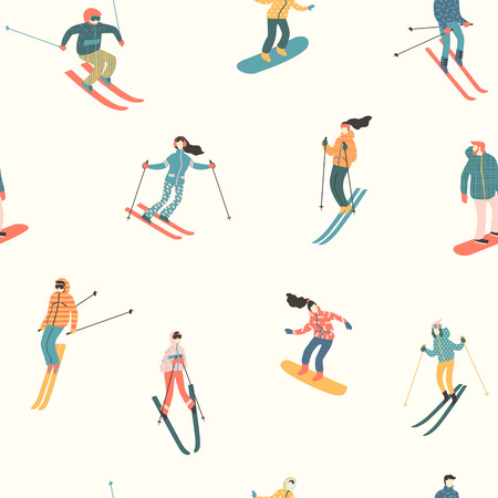 Vector illustration of skiers and snowboarders. Seamless pattern. Illusztráció