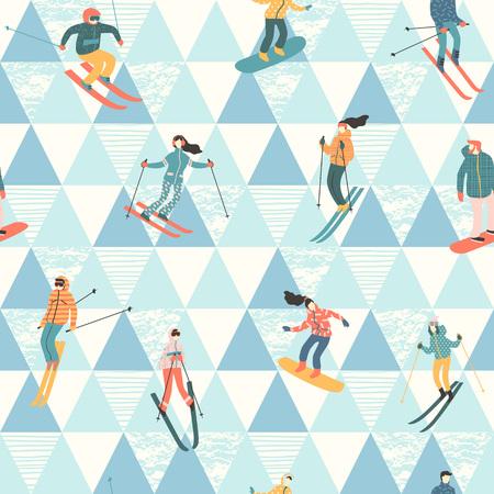 スキーヤーとスノーボーダーのベクトル イラスト。シームレス パターン。  イラスト・ベクター素材