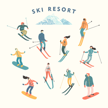 skiers: Vector illustration of skiers and snowboarders. Illustration