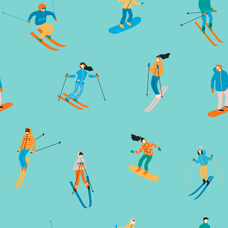 Vector illustration of skiers and snowboarders. Seamless pattern. Illustration