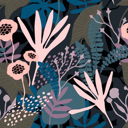 Abstract bloemen naadloos patroon met trendy hand getrokken texturen.