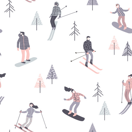 Vector illustration of skiers and snowboarders. Seamless pattern. Stock Illustratie