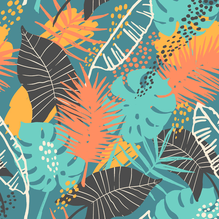 Seamless exotic pattern with tropical plants. 矢量图像