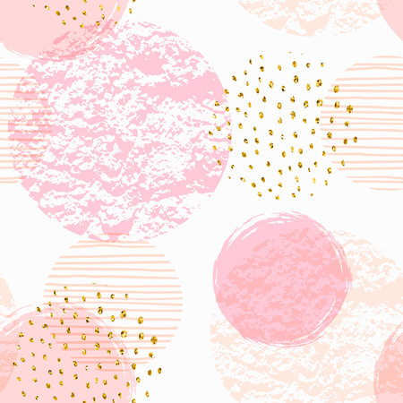 Abstract geometric seamless pattern with pink circles.