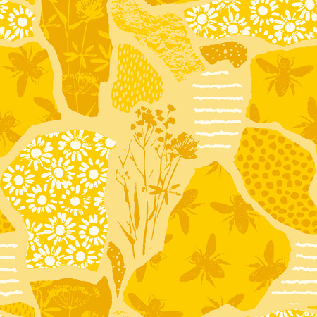 Seamless geometric pattern with bee. Trendy hand drawn textures. Modern abstract honey design for paper, fabric, interior decor and other users.