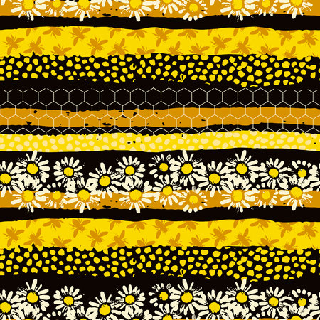 蜂とのシームレスな幾何学模様。現代抽象的な蜂蜜のデザイン。
