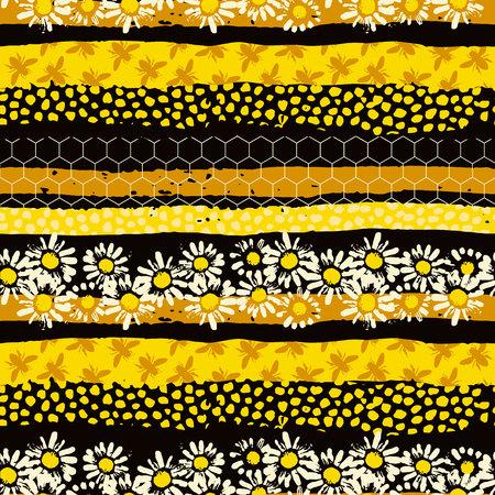 Nahtloses geometrisches Muster mit Biene. Moderner abstrakter Honigentwurf. Standard-Bild - 88619543