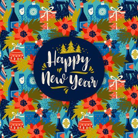 Happy New Year. Vector design element with New Years symbols. 免版税图像 - 89195799