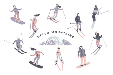 Illustration of skiers and snowboarders.