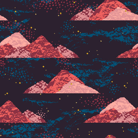 Abstract cosmic seamless pattern. Trendy hand drawn texture, glitter and geometric elements. Vectores