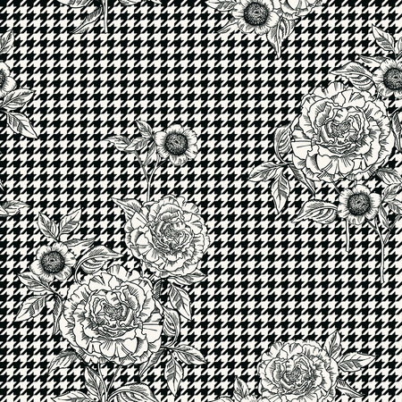Floral seamless pattern with plaid background. Vector template. Illustration