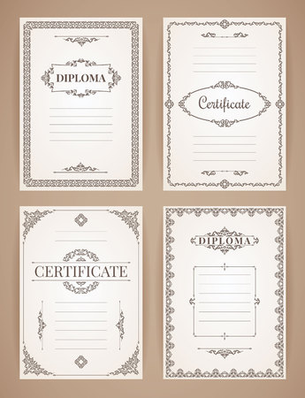 Vector Design Templates Collection for Diploma, Certificate, Posters and other use. Illustration