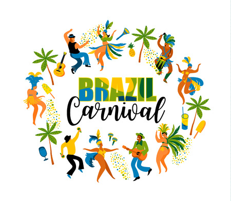 Brazil carnival. Vector illustration of funny dancing men and women in bright costumes. Design element for carnival concept and other users Çizim