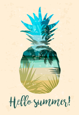 Tropical beach summer print with slogan for t-shirts, posters, card and other uses. Hello Summer with pineapple Illustration