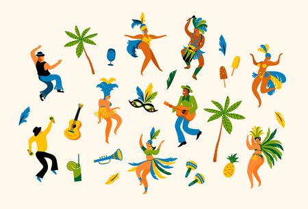 Brazil carnival. Vector illustration of funny dancing men and women in bright costumes. Design element for carnival concept and other users Vectores