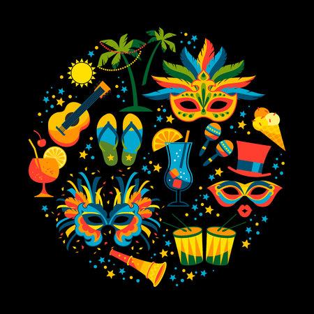 Brasilianischer Karneval . Vektor flache Embleme . Design-Elemente Standard-Bild - 92091262