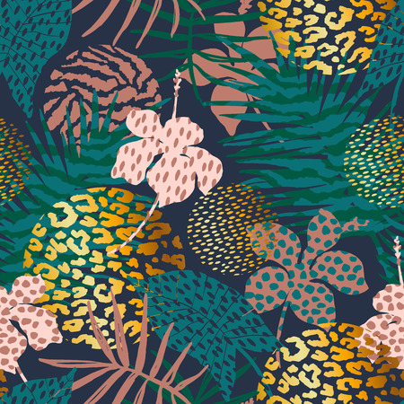 Na moda sem costura padrão exótico com palm, animal imprime e mão desenhada texturas. Ilustração vetorial Design abstrato moderno para papel, papel de parede, capa, tecido, decoração de interiores e outros usuários. Ilustración de vector