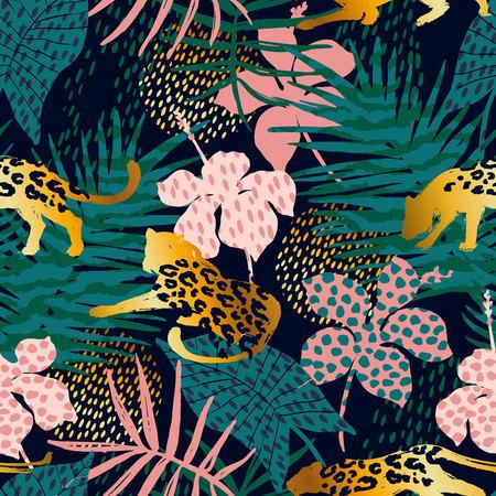 Trendy naadloos exotisch patroon met palm, dierlijke af: drukken en hand getrokken texturen. Vector illustratie. Modern abstract ontwerp voor papier, behang, dekking, stof, interieur en andere gebruikers.