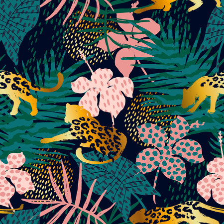 Trendy seamless exotic pattern with palm, animal prints and hand drawn textures. Vector illustration. Modern abstract design for paper, wallpaper, cover, fabric, Interior decor and other users.