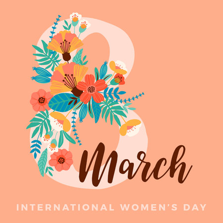 International Women's Day vector template for card or poster.