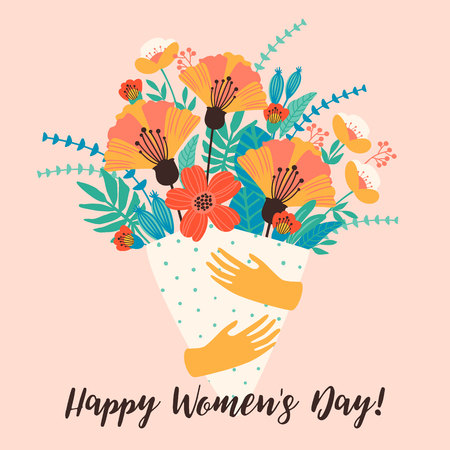 International Women s Day. Vector template for card, poster, flyer and other users Stock Illustratie