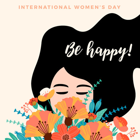 International Women s Day. Vector template with for card, poster, flyer and other users