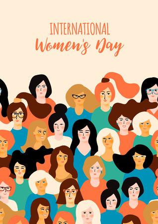 Internationale Vrouwendag. Vector sjabloon met voor kaart, poster, flyer en andere gebruikers