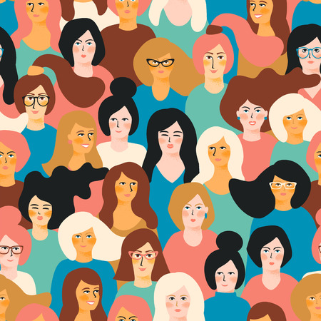 International Women's Day vector seamless pattern with female faces. Stock Illustratie