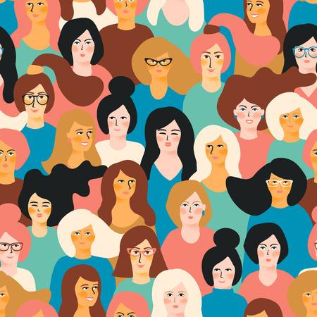 Internationale Vrouwendag vector naadloze patroon met vrouwelijke gezichten.