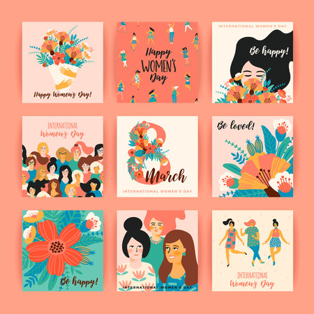 International Women's Day vector templates. Çizim