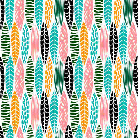 Tribal seamless pattern with abstract leaves. Hand draw texture. 矢量图像