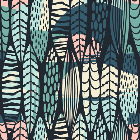 Tribal seamless pattern with abstract leaves. Hand draw texture. Vettoriali