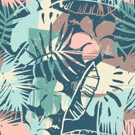 Seamless exotic pattern with tropical plants and artistic background Zdjęcie Seryjne - 94664818