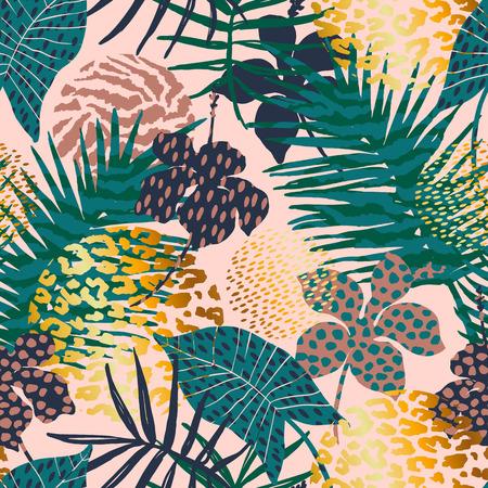Trendy naadloos exotisch patroon met palm, dierlijke drukken en hand getrokken texturen.
