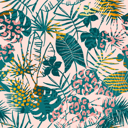 Trendy seamless exotic pattern tropical plants, animal prints and hand drawn textures. Vettoriali