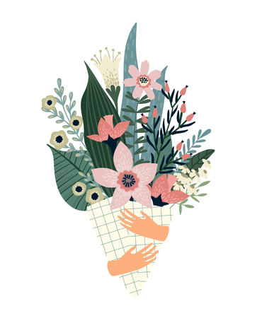 A Vector illustration bouquet of flowers. Design template for card, poster, flyer. Ilustração